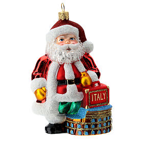 Blown glass Christmas ornament, Santa Claus in Italy s1