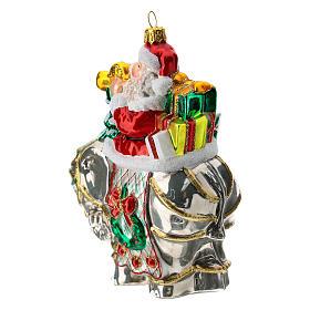 Blown glass Christmas ornament, Santa Claus on elephant s2