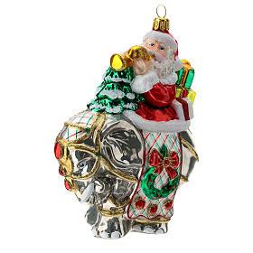 Blown glass Christmas ornament, Santa Claus on elephant s3