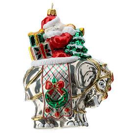 Blown glass Christmas ornament, Santa Claus on elephant s4
