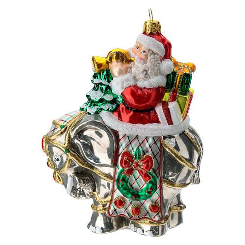 Blown glass Christmas ornament, Santa Claus on elephant 1