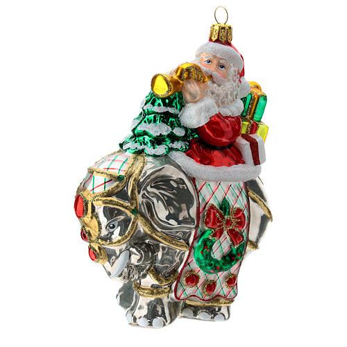 Blown glass Christmas ornament, Santa Claus on elephant 3