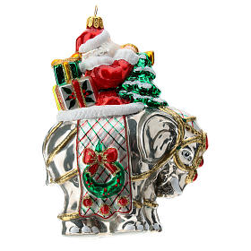 Papá Noel y elefante adorno navideño vidrio soplado s4