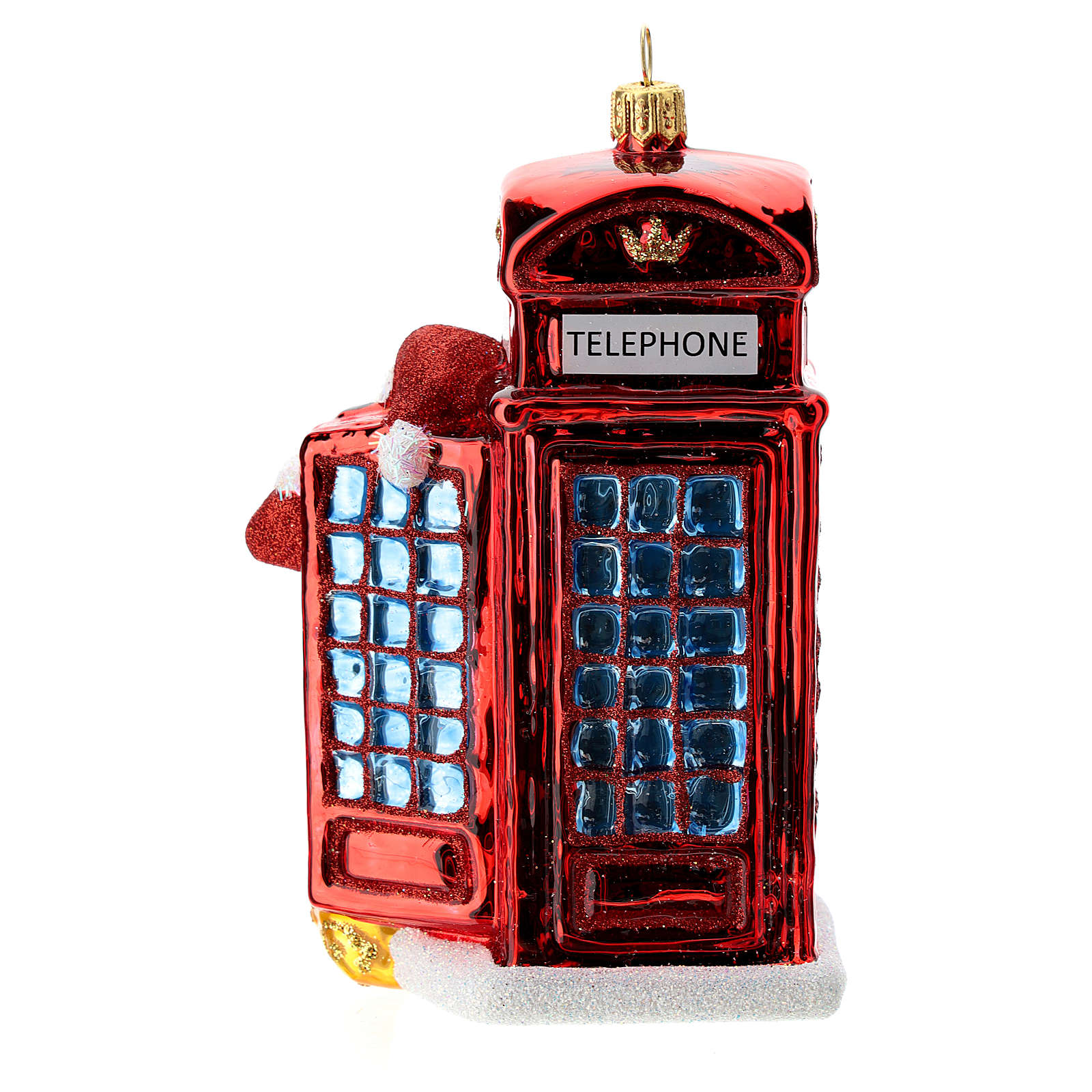 Santa with telephone booth blown glass Christmas ornament 4