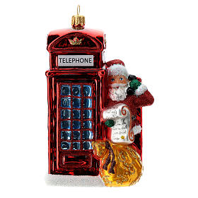 Santa with telephone booth blown glass Christmas ornament s1