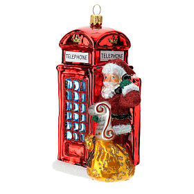 Santa with telephone booth blown glass Christmas ornament s2