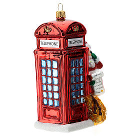 Santa with telephone booth blown glass Christmas ornament s3