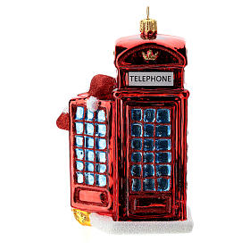 Santa with telephone booth blown glass Christmas ornament s4