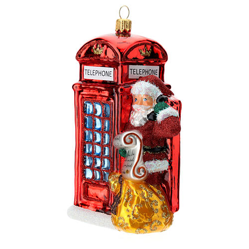 Santa with telephone booth blown glass Christmas ornament 2