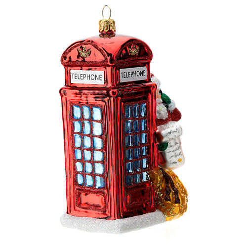 Santa with telephone booth blown glass Christmas ornament 3