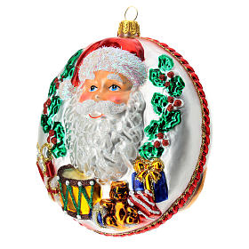 Blown glass Christmas ornament, Santa Claus disk with relief details s3