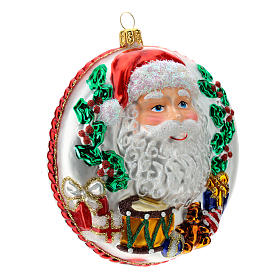 Blown glass Christmas ornament, Santa Claus disk with relief details s5