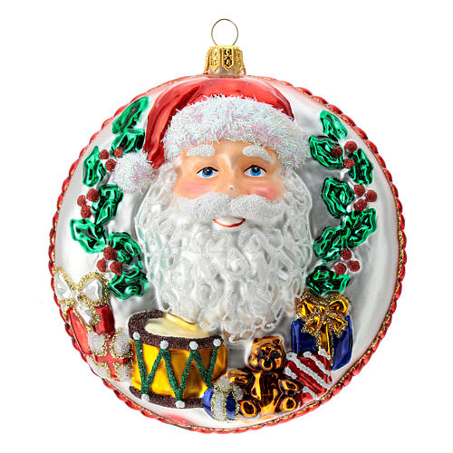 Blown glass Christmas ornament, Santa Claus disk with relief details 1