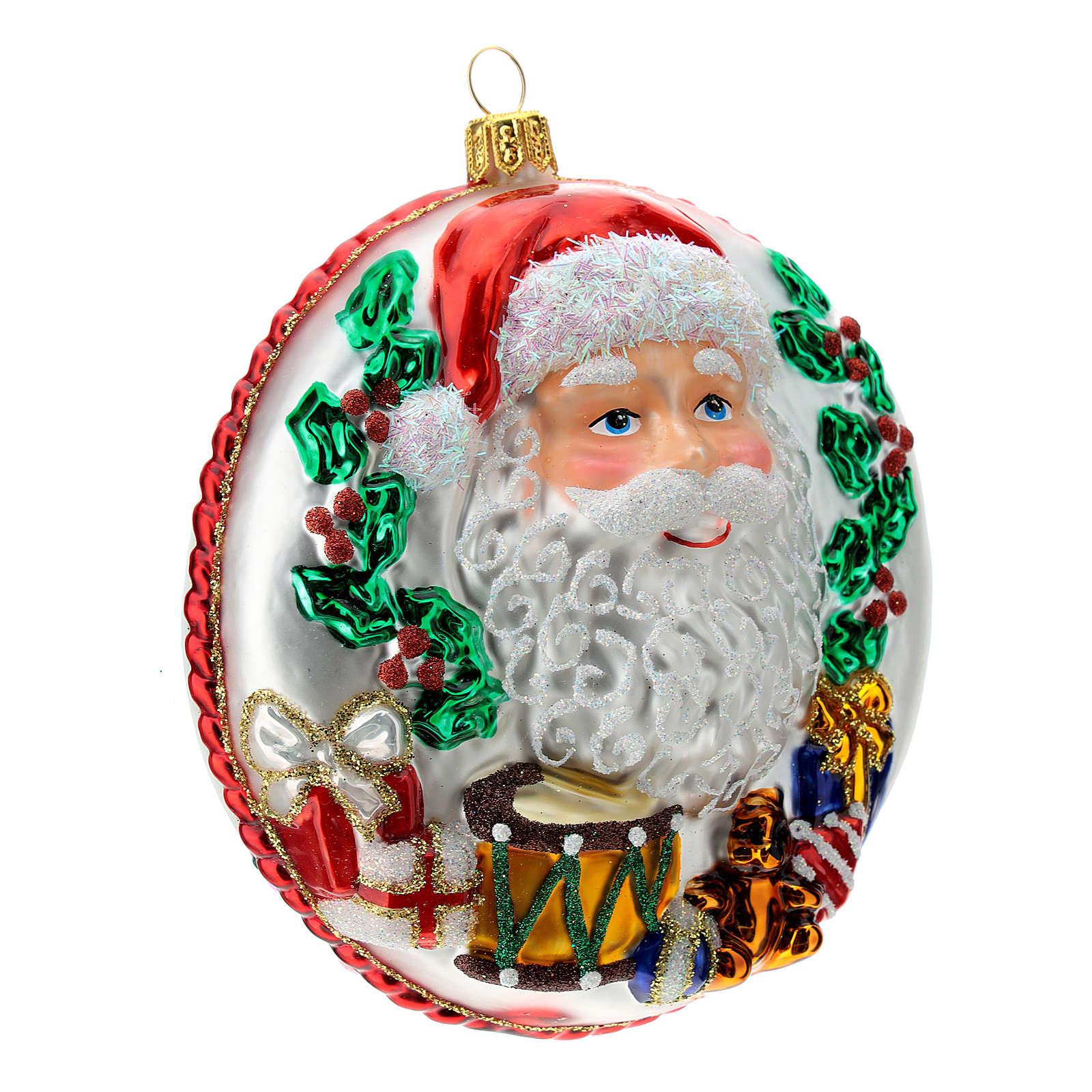 Papá Noel disco adorno Árbol Navidad vidrio soplado detalles relieve 4