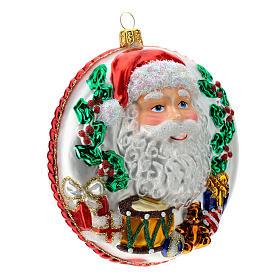 Père Noël disque décoration sapin verre soufflé détails en relief s5