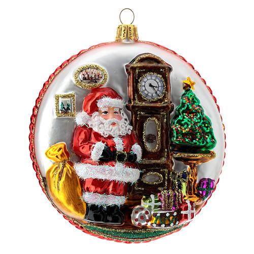Père Noël disque décoration sapin verre soufflé détails en relief 2
