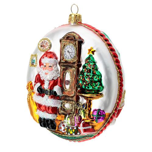 Père Noël disque décoration sapin verre soufflé détails en relief 4