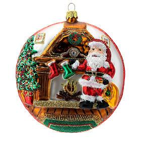 Enfeite Árvore de Natal Disco Pai Natal Pólo Norte vidro soprado detalhes em relevo s2