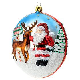 Enfeite Árvore de Natal Disco Pai Natal Pólo Norte vidro soprado detalhes em relevo s3