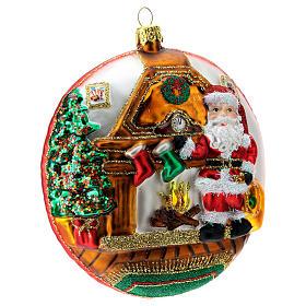 Enfeite Árvore de Natal Disco Pai Natal Pólo Norte vidro soprado detalhes em relevo s4