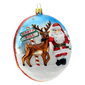 Enfeite Árvore de Natal Disco Pai Natal Pólo Norte vidro soprado detalhes em relevo s5