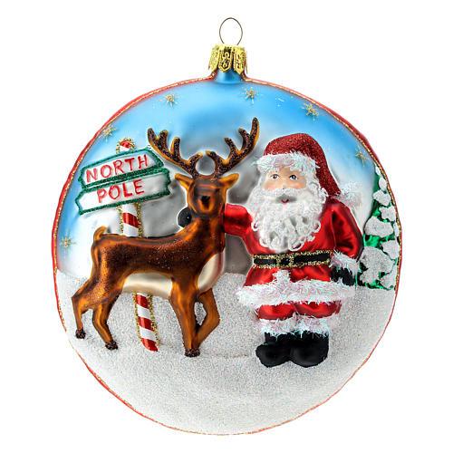 Enfeite Árvore de Natal Disco Pai Natal Pólo Norte vidro soprado detalhes em relevo 1