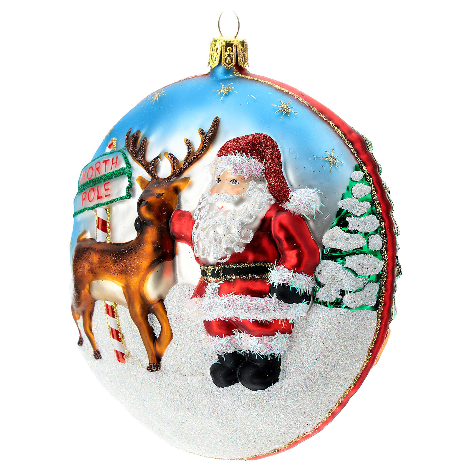 North Pole disc blown glass Christmas ornament in relief 4