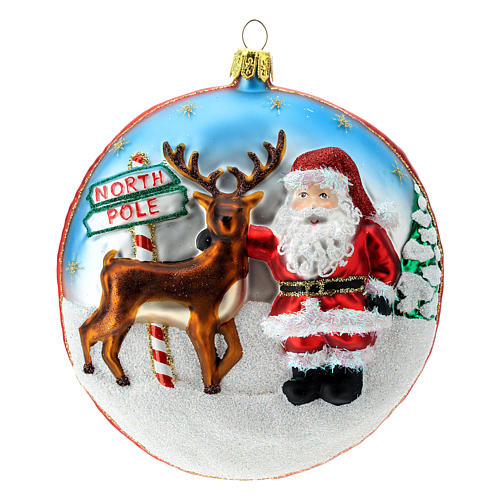 North Pole disc blown glass Christmas ornament in relief 1