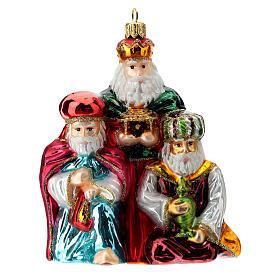 Décoration sapin Noël Rois Mages verre soufflé s1