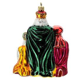 Décoration sapin Noël Rois Mages verre soufflé s4