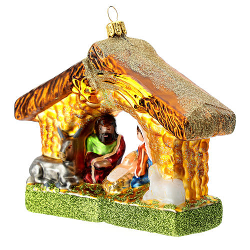 Blown glass Christmas ornament, Nativity with shack 2