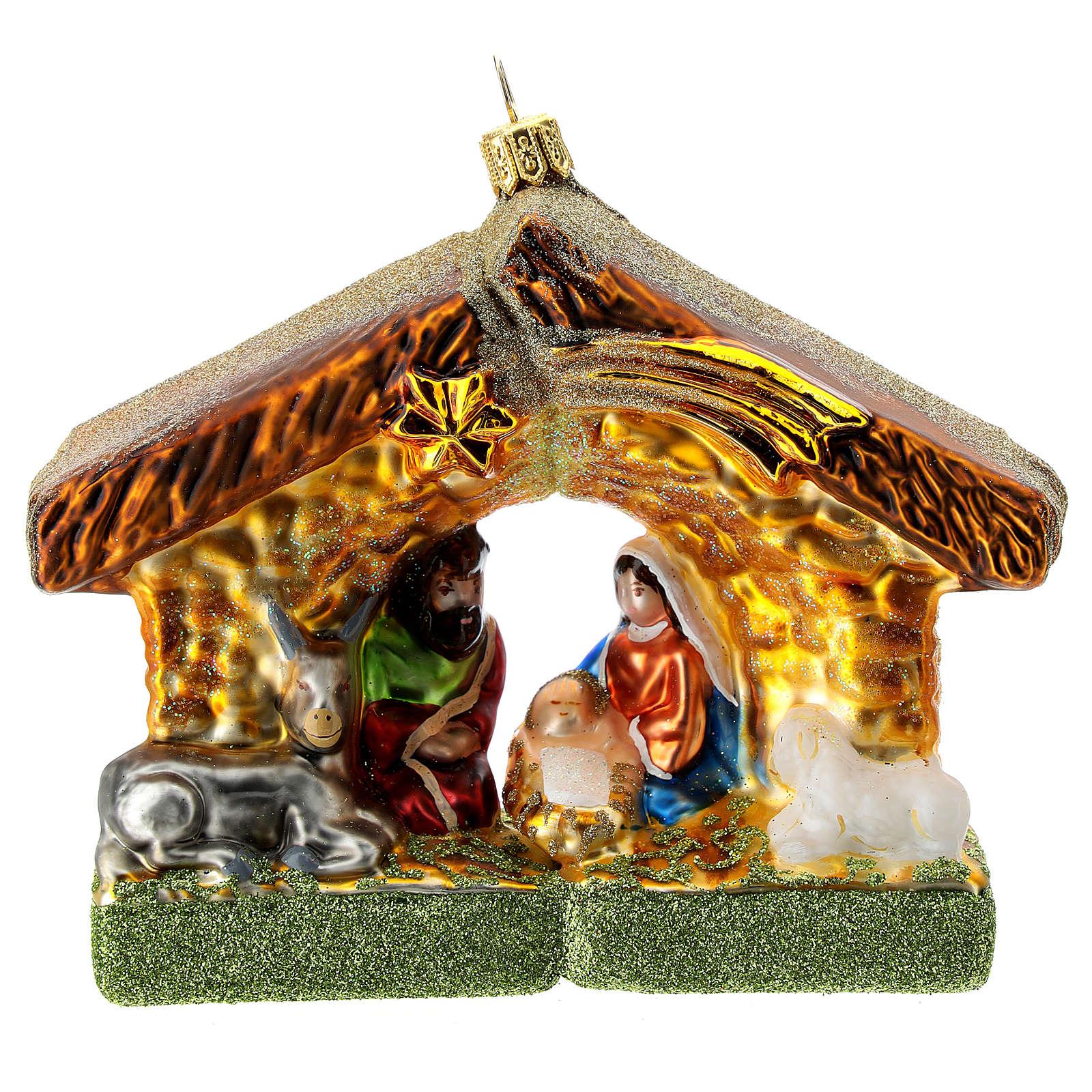 Natividad cabaña adorno para Árbol Navidad vidrio soplado 4