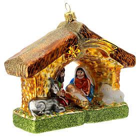 Nativité cabane décoration pour sapin Noël verre soufflé s3