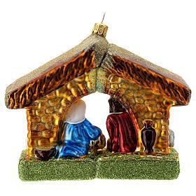 Nativité cabane décoration pour sapin Noël verre soufflé s4