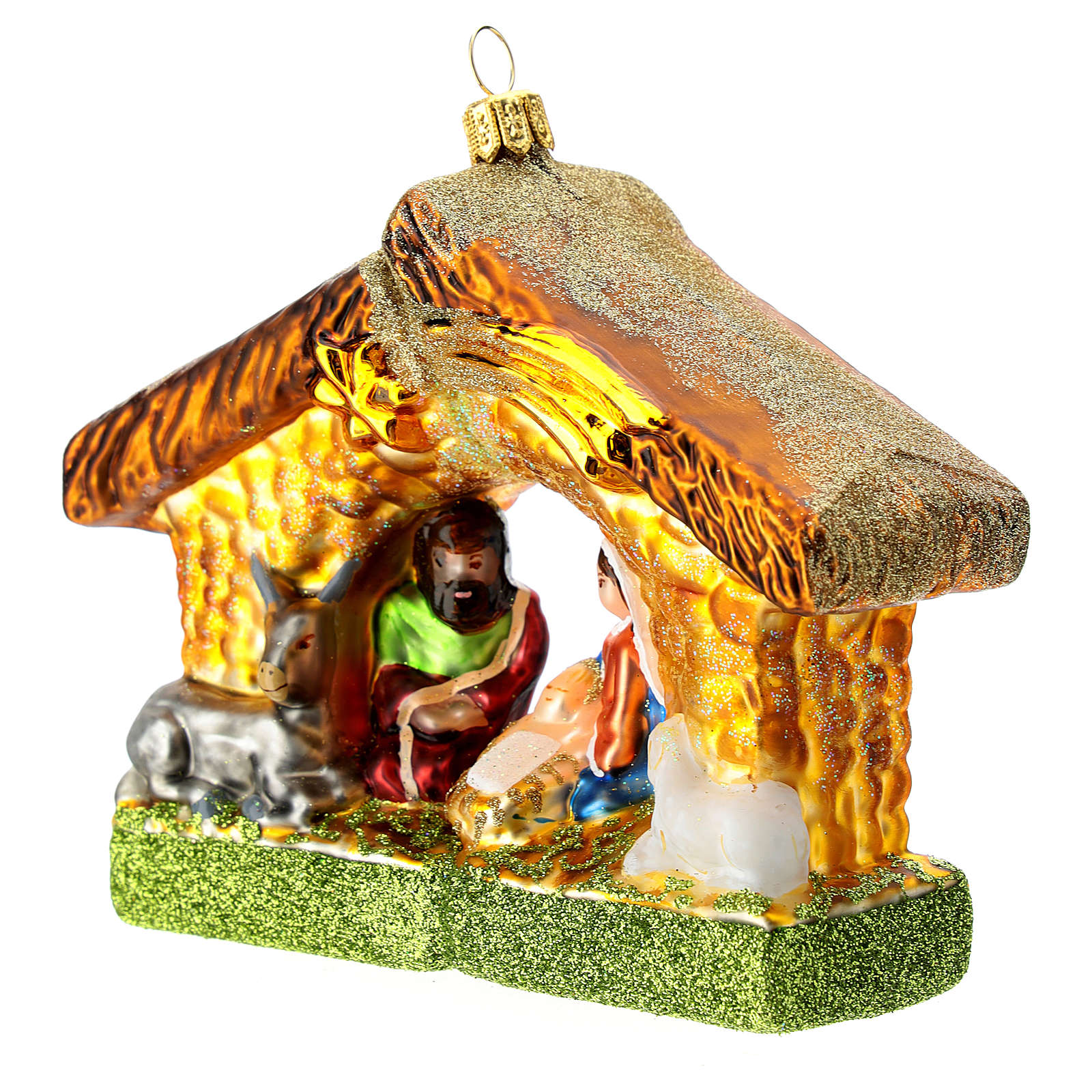 Holy Family and stable blown glass Christmas ornament 4