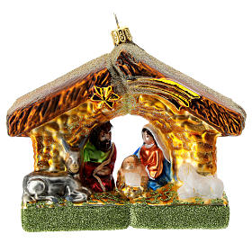 Holy Family and stable blown glass Christmas ornament s1