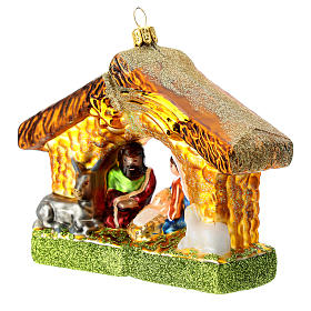 Holy Family and stable blown glass Christmas ornament s2