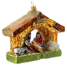 Holy Family and stable blown glass Christmas ornament s3