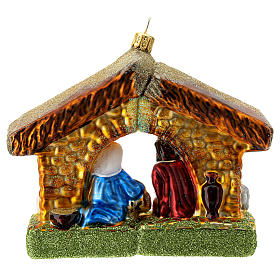 Holy Family and stable blown glass Christmas ornament s4