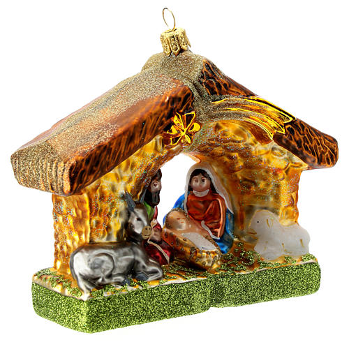 Holy Family and stable blown glass Christmas ornament 3