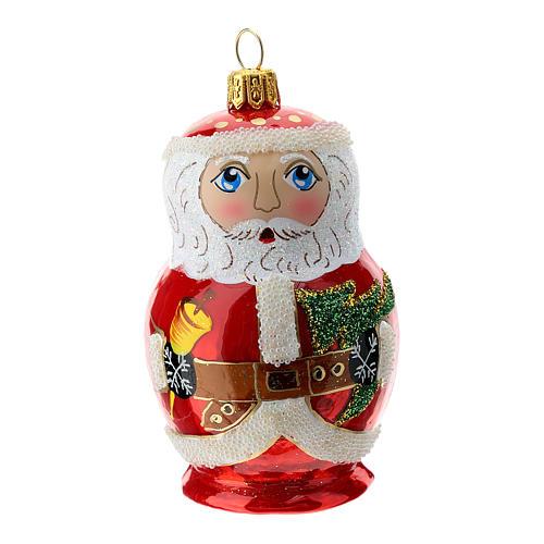Blown glass Christmas ornament, Santa Claus Russian doll 1