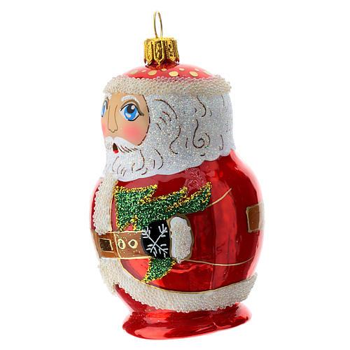 Blown glass Christmas ornament, Santa Claus Russian doll 2