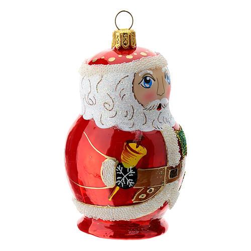 Blown glass Christmas ornament, Santa Claus Russian doll 3