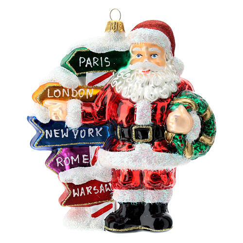 Blown glass Christmas ornament, Santa Claus with street sings 1