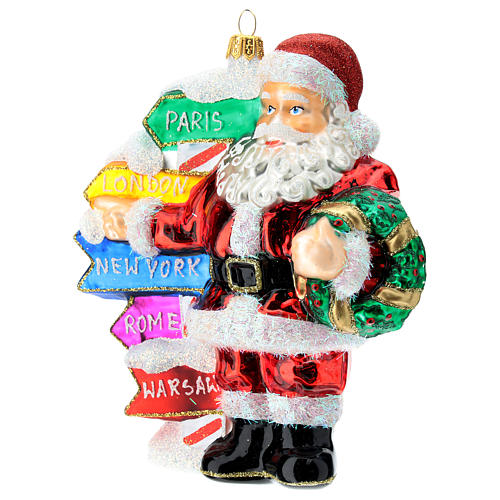 Blown glass Christmas ornament, Santa Claus with street sings 2
