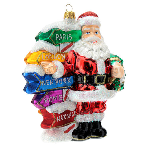 Blown glass Christmas ornament, Santa Claus with street sings 3