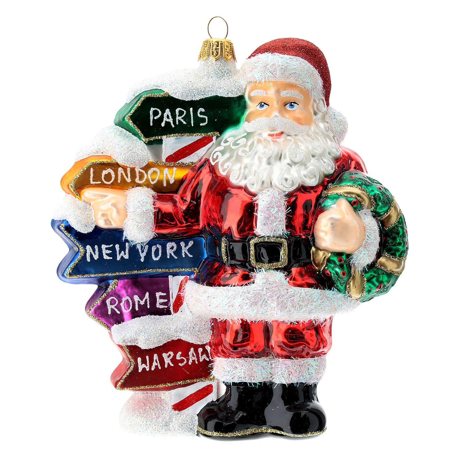 Babbo Natale con cartelli stradali addobbo vetro soffiato albero Natale 4