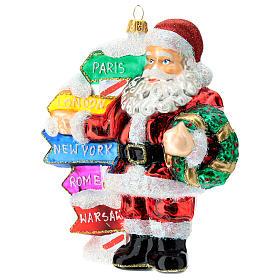 Babbo Natale con cartelli stradali addobbo vetro soffiato albero Natale s2