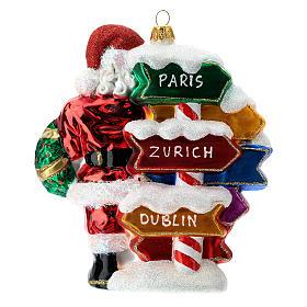 Babbo Natale con cartelli stradali addobbo vetro soffiato albero Natale s4
