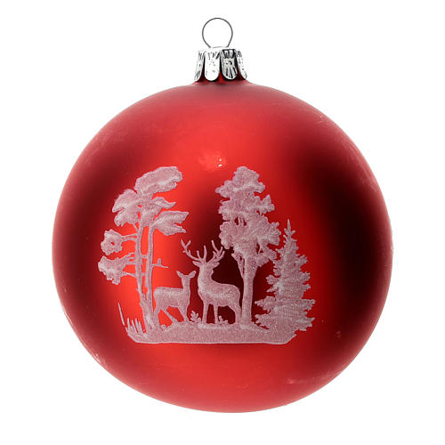 Christmas tree ball in blown glass: deer, 100 mm 3